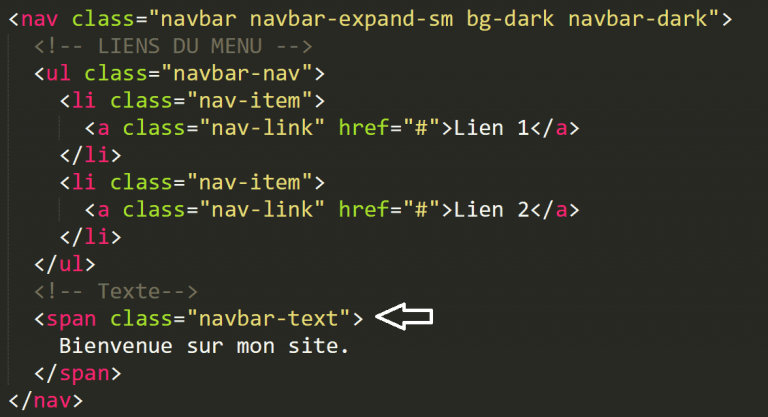 Barre de navigation avec du texte